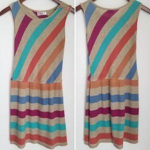 2/$20 Vintage Rainbow Stripe Mini Dress